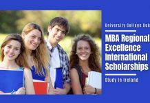UCD Full-Time MBA Regional Excellence International Awards