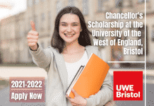 University of the West of England Chancellor's Scholarships 2021