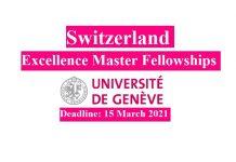 University of Geneva Excellence Masters Fellowships 2021