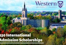 International Student Scholarships at University of Western Ontario, Canada