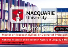 National Research and Innovation Agency of Uruguay & Macquarie Co-Funded Scholarships Program