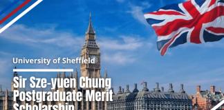 Sir Sze-yuen Chung Postgraduate Merit funding for Hong Kong Students at University of Sheffield, UK