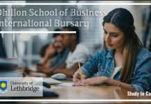 University of Lethbridge Dhillon School of Business International Bursary