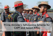 Prime Minister's Scholarship for Central Armed Police Forces and Assam Rifles